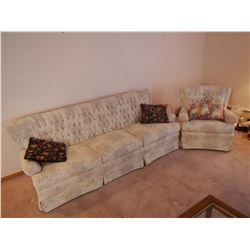 """White Couch And Matching Arm Chair, LIKE NEW! (Couch is 84"""" Long)"""