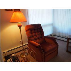 Dark Red Arm Chair W/ Floor Lamp And Magazine Rack, LIKE NEW!