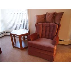Pink Arm Chair W/ End Table And Throw Pillows, LIKE NEW