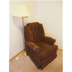 Brown Arm Chair, Very Clean, With Floor Lamp