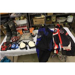 Lot of Dirt Biking Gear & Equipment (Boots, Padding, Clothing)(See photos for sizes)