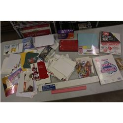 Lot of Cards, Envelopes, Paper& Paper Clips