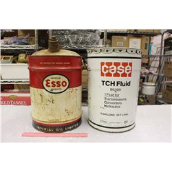 5 Gallon Oil Pails (2)(Case & Esso)