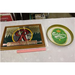 Beer Advertising Mirror & Tray (Mountain Fresh Rainier & Carlsberg)