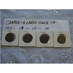 Canada Large 1 Cent Coins (4) (1911, 14, 15, 16)