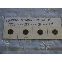 Canada Small 1 Cent Coins (4) (1920, 28, 29, 34)