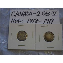 Canada Silver 10 Cent Coins (2) (1918, 1919)