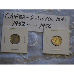 Canada Silver 10 Cent Coins (2) (1952, 1956)