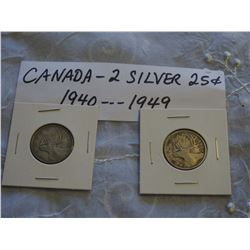 Canada Silver 25 Cent Coins (2) (1940, 1949)