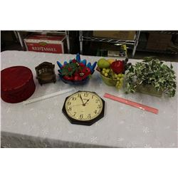 Lot of Misc (Table Decoration Pieces, Coasters, Clock, Etc)