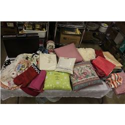Huge Lot of Misc (Pillows, Table Cloths, Decorations, A Briefcase, Etc)
