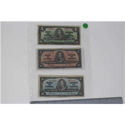 1937 Canada Bills (3)(1 Dollar, 2 Dollars & 5 Dollars)
