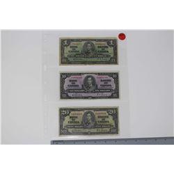 1937 Canada Bills (3)(1 Dollar, 10 Dollar & 20 Dollars)