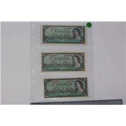 1954 Canada 1 Dollar Bills (3)