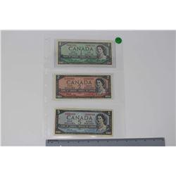 1954 Canada Bills (3)(1 Dollar, 2 Dollars & 5 Dollars)