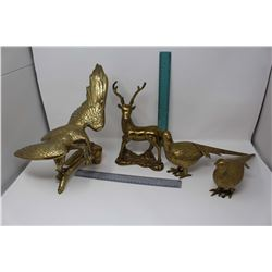 Lot of Gold Colored Statues (4)(Eagle, Elk & Birds)