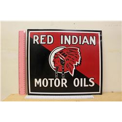 "Reproduction Red Indian Motor Oil Sign (14.5""x12.5"")"