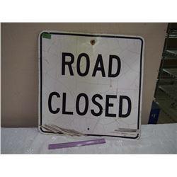 """Metal Road Closed Road Sign, 24""""x24"""""""