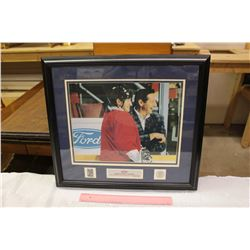 Framed Wayne Gretzky and Ford Wall Piece