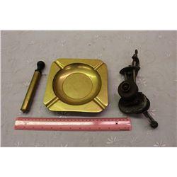 Lot Of Vintage (Brass Ashtray, Air Pump, Dazey Knife Sharpener)
