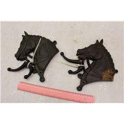 Pair Of Cast Iron Horse Bridal Hangers