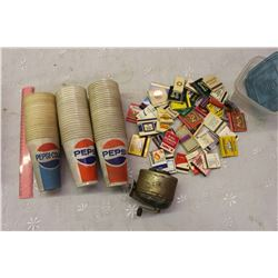 Lot Of Vintage Pepsi Advertising Cups And Advertising Matchbooks
