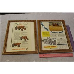 Framed Allis Chalmers And Massey Harris Advertisements
