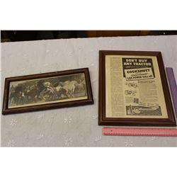 Framed Cockshutt Advertisement W/ Framed Art Print