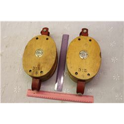 Pair Of Large Wooden Pulleys