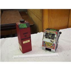 Saskatchewan Grain Bin Whisky Bottle W/ Slot Machine Coin Bank
