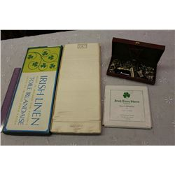 Eaton's Irish Linens (Never Used)& A Jewellery Box w/Jewellery