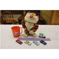 Esso Stuffed Tiger, Toy Cars& A Gulf Cup
