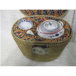 Chinese Wicker Tea Caddy W/ Teapot And Cup