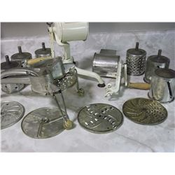 3 Tin And Cast Iron Graters With Attachment