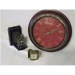 Replica Old Camera And Edinburgh Clock Works And Brass Travel Clock