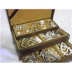 Walnut Wood Jewel Chest W/ Pearl Style Jewellery