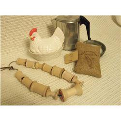 Misc. Kitchen Items W/ Chicken On Nest
