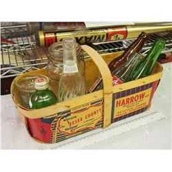Wooden Handled Fruit Basked With Assorted Bottles, Hamms And Druery