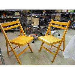 Pair Of Vintage Wooden Folding Chairs (1940-50)