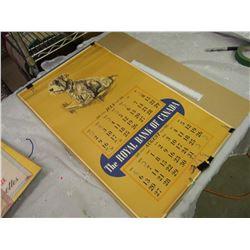 """1939 The Royal Bank Of Canada Calendar, 27""""x16"""""""