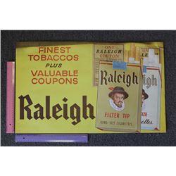 Raleigh Cardboard Tobacco Advertisement