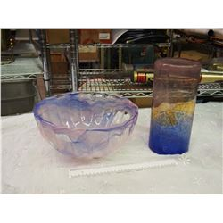 Art Glass Bowl And Vase
