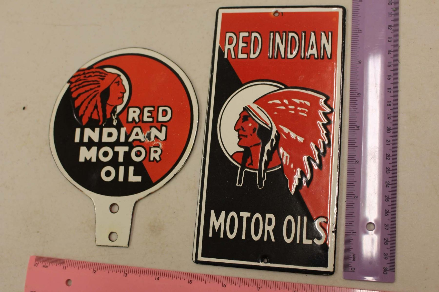 Red Indian Motor Oils Porcelain Reproduction Signs (2)