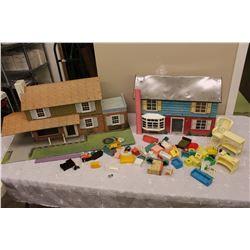 1950s Tin Doll Houses(2) w/Plastic Furniture