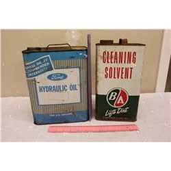 BA Cleaning Solvent Tin & A Ford Hydraulic Oil Tin