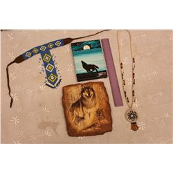 Lot of Native Collectibles:Two Beaded Necklaces, Canvas Painting, Etc