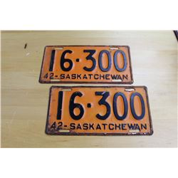 1942 Matching Pair of Saskatchewan License Plates