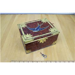 Lockint Vintage Blue Bird Toffee Tin w/Key Working Order