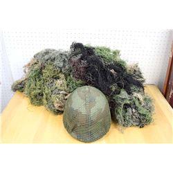 Vintage Military Helmet& Camouflage Netting