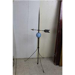 Original Lightening Rod Weathervane w/Brass Arrow& Blue Ceramic Ball